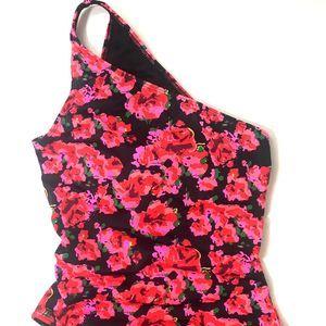 MAROKAI Black & Pink Floral One Shoulder Swimsuit
